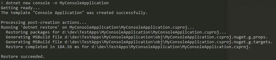 Create dotnet console application