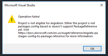 Package reference migration error