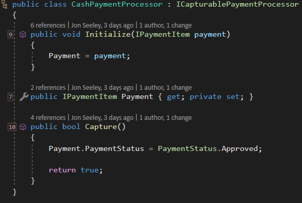 interface segregation principle - example of new CashPaymentProcessor implementation