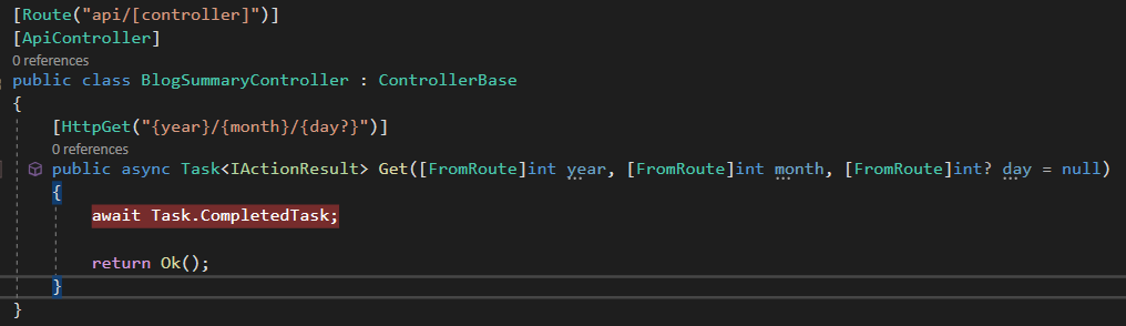 Contrived BlogSummaryController with a Get operation that has an optional route parameter for {day}