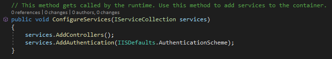 Add AD authentication to ConfigureServices