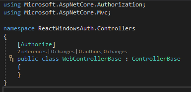 WebControllerBase basic implementation with [Authorize] attribute
