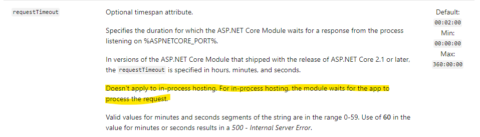 ASP.NET Core request timeout doesn't apply to in-process hosting.